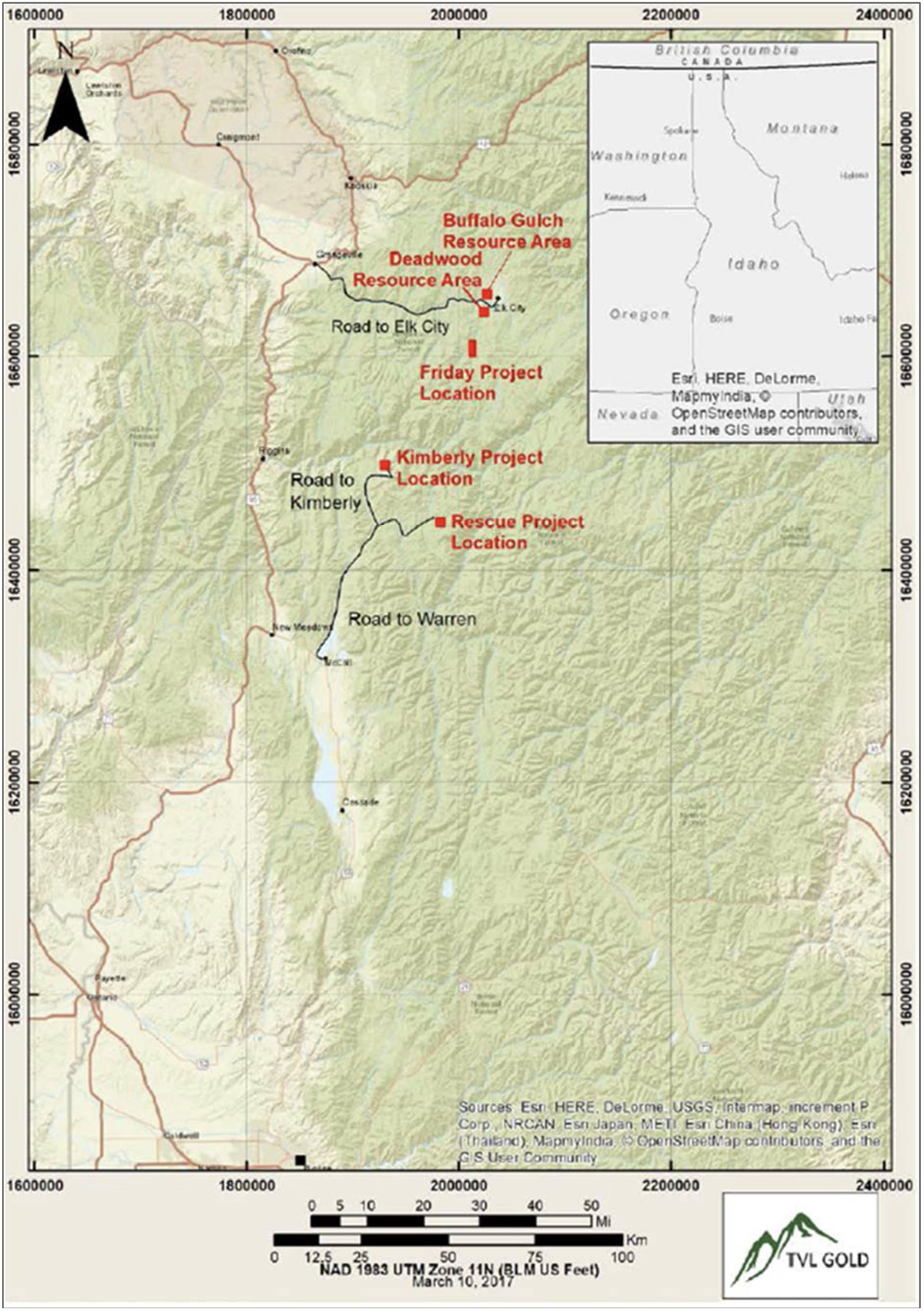 The Rescue project is a past producing lode gold project situated within the historic Warren mining district of Idaho County, Idaho.